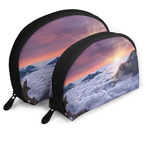 Shell Shape Makeup Bag Set Tragbare Geldbörse Reise Kosmetikbeutel, Winterlandschaft in den Bergen Sonnenuntergang Szenen von der Welt Foto, Frauen Toilettenartikel Clutch