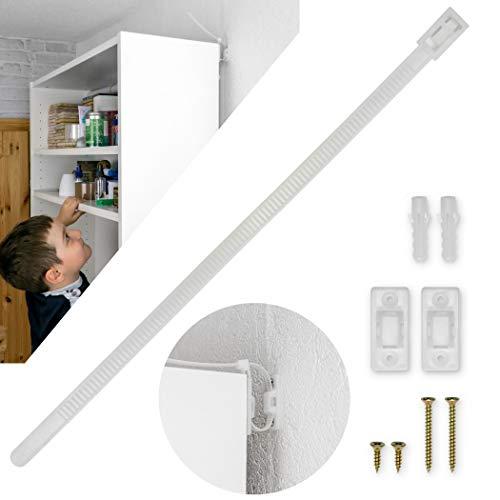 Kippsicherung für Regale, Kommoden und Schränke, 10er Set, zum Schrauben, einfach zu aktivieren/deaktivieren, für Kleinkinder und Haustiere, inklusive Dübeln und Schrauben, Kippschutz für Möbel