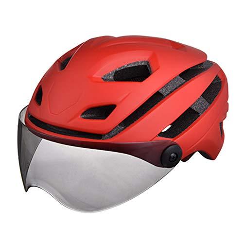 DNACC Fahrradhelm mit Abnehmbarer Magnetbrille Spezialisierter Mountainbike- und Rennradhelm Fahrradfahren im Freien Sportsicherheit Superleicht Verstellbarer Fahrradhelm 54-63CM,Rot
