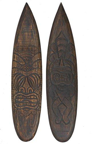 Interlifestyle 2 Tiki - Tabla de surf decorativa de madera, 100 cm, estilo hawaiano