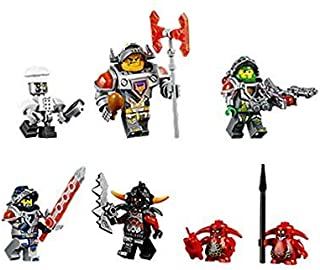 Lego Minifigures - Set of 7 Nexo Knight (Clay Moorington, Aaron Fox, Axl, Chef Eclair, Ash Attacker and 2 Scurriers). No packaging.