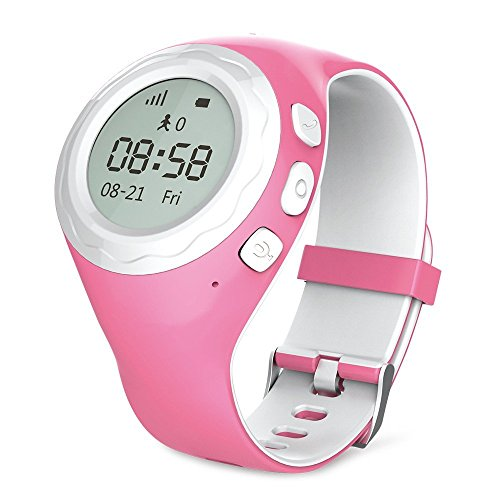 WATCHU for Kids Phone Watch with GPS Tracker - Check Your Child's Whereabouts - SOS Button with Voice Chat - Call Them from Your Mobile - Friendly UK Tech Support (Princess Pink)