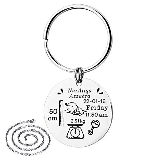 Personalisierte Geschenke für neue Mutter - Edelstahl Geborenes Datum Benutzerdefinierte ID-Tags Schlüsselbund Baby Ankündigung Geschenk für Neugeborene Baby von Papa Mutter,kostenlose Gravur