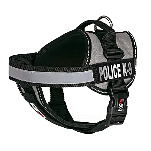 Dogline Unimax Dog Harness Vest with Police K-9 Patches Reflective No-Pull, Adjustable Straps, Breathable Neoprene for Medical, Service, Identification and Training Dogs Girth 28 to 38' Gray