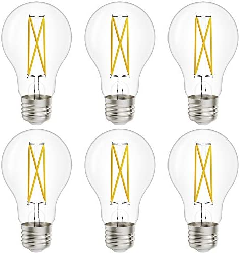 Sunco Lighting 6 Pack A19 LED Bulb Dusk to Dawn 9W 60W 3000K Warm White Vintage Edison Filament product image