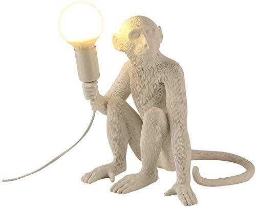Lámpara de escritorio de mono, lámpara de escritorio de resina retro, lámpara de escritorio moderna creativa, accesorios de iluminación para sala de estar, dormitorio, estudio, oficina, color blanco