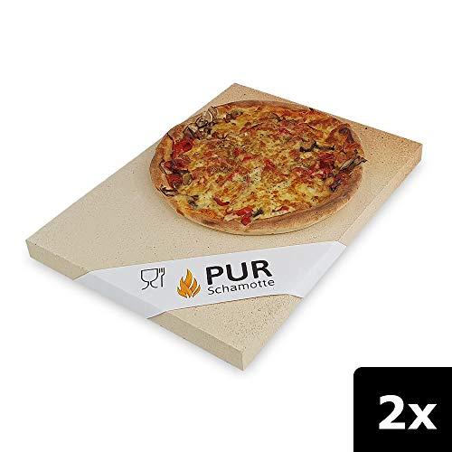 PUR Schamotte® Pizzasteen broodsteen voor Barbecue Gasbarbecue oven 40 x 30 cm x 30mm I 2 platen I chamotte