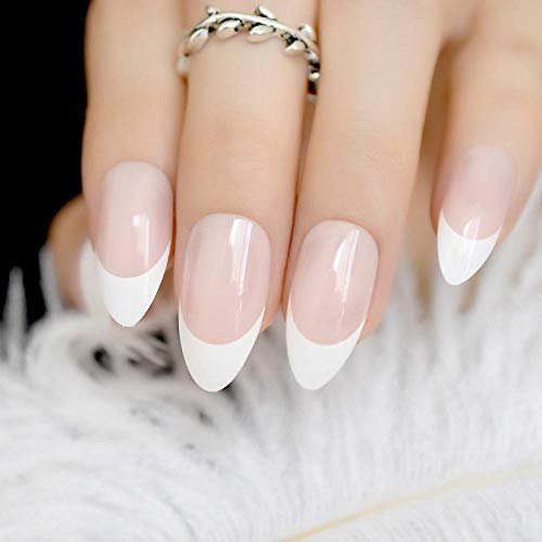 TJJF 24 Count Beige Artificial Nails Forme Classique French Nail Sweet Smile Line With Adhesive Glue Sticker