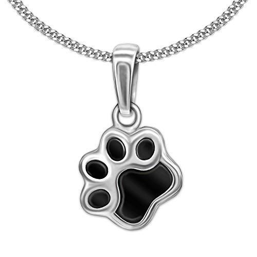 CLEVER SCHMUCK Juego de colgante plateado con forma de huella de perro pequeña de 8 mm y cadena de...