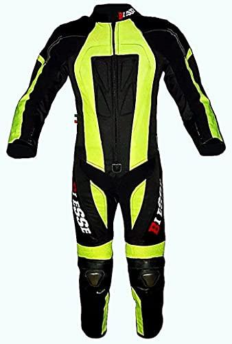 Biesse - Mono infantil para minimoto, hecho de piel y Cordura, profesional, con protecciones CE
