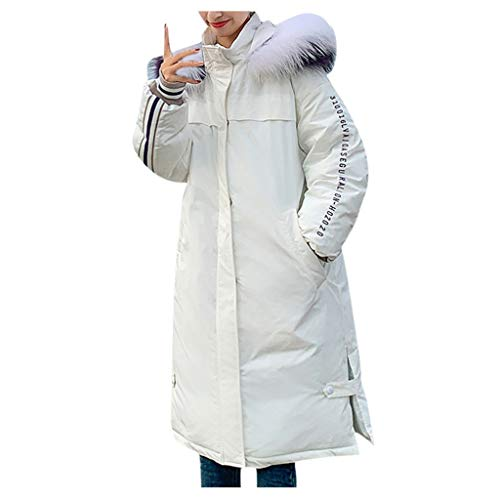 Dtuta Damen Warme Pelzkragen Langen Mantel mit Kapuze schlanke Winter Parka Outwear Jacke, Herbst Mantels Winterparka Wollmischung Umlegekragen Langarm Warmer Coat