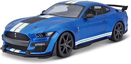 Maisto Mustang Shelby GT500 '20 - Maqueta de Coche a Escala 1:18, Puertas, Maletero y capó Que se Abre, orientable, 34 cm, Color Azul (531388)