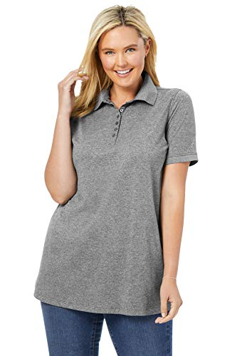Woman Within Women's Plus Size Perfect Short-Sleeve Polo Shirt - 4X, Heather Grey