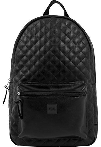 Urban Classics Diamond Quilt Leather Imitation Backpack Rucksack, 45 cm, 22 L, Black