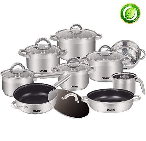 DMS® 15-teiliges Topfset aus hochwertigem Edelstahl | Induktion | beschichtetes Kochset und Pfannenset | Kochgeschirr | hochwertiges Küchenset | pflegeleicht | Stielkasserolle | Milchtopf | Damper