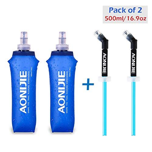Azarxis TPU Faltbarer Soft Flask, BPA-Frei Trinkblase Trinkflaschen Wasserflasche für Trinkrucksack Fahrrad Klettern Sport (500ml - 2 Stück mit 2 Strohhalmen)