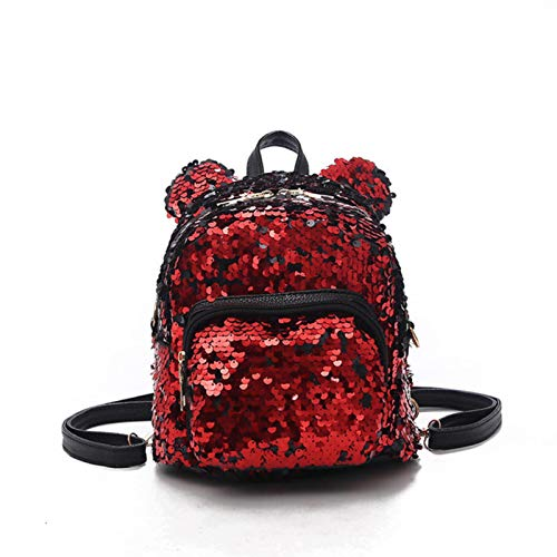 Aiovemc Sparkling women's sequined backpack cute ears backpack mini backpack for kids girls sequined travel backpack