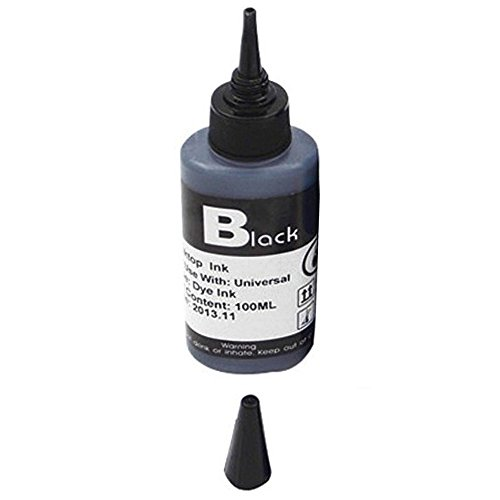 Pinzhi Kit De Reemplazo De Repuesto De Cartucho De Tinta De Color De 100 Ml Para Impresora Hp Canon Brother(Negro)