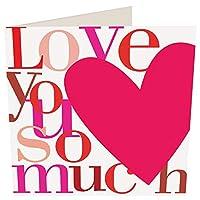 グリーティングカード バレンタイン「Love you so much」 ハート メッセージカード 手紙 おしゃれ 贈り物 ギフト 封筒付き