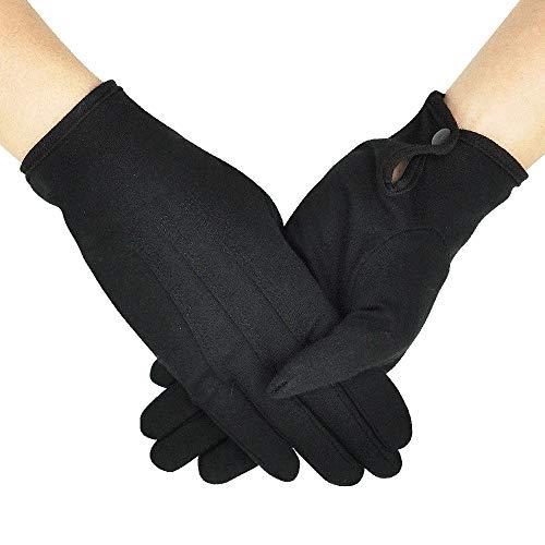 OLESILK Parade Handschuhe für Frauen und Herren Baumwolle formelle Smoking Kostüm Ehrengarde Handschuhe mit Schnappverschluss Inspektionshandschuhe Für Münzen, Schmuck, Silber, Schwarz, 1Paar