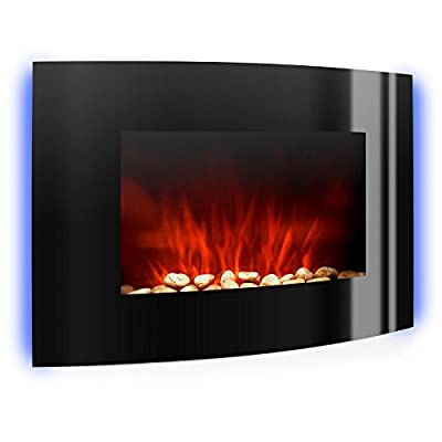Klarstein Lausanne Electric Fireplace - 2000W, Built-In Fan Heater, Dimmer Function, Color LED Flame Effect, Glass Front Panel, Wall Mountable, Operation via Remote Control Panel, Black