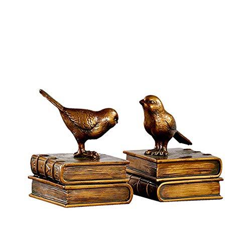 DQM De vogel boekensteunen retro ornamenten plank, hars vogel-vormige boekenhoud, gebruikt om boeken, kleine boeken en romans op te slaan, schattige warme decoratie effecten, voegt een nieuw gevoel uw boekenplank
