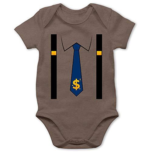 Shirtracer Karneval und Fasching Baby - Anzug Kostüm mit Dollarzeichen Krawatte - 6/12 Monate - Braun - Baby Anzug Junge - BZ10 - Baby Body Kurzarm für Jungen und Mädchen
