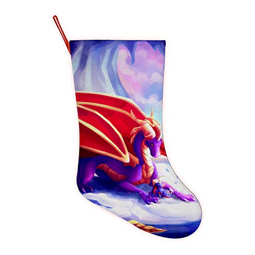 SP-yro The Dragon Drawing Large Christmas Stocking,3D Printed Festival Party Home Decorative Socks Gift Bags Santa/Deer