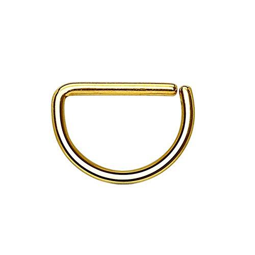 Paula & Fritz® Halbrunder biegbarer D-Form UNIVERSAL Fake Hoop Ring 8mm lang 1mm dick Gold Segmentring Septum Tragus Helix Cartilage Nasen-Piercing Ohrklemme Nostril Chirurgenstahl Titan