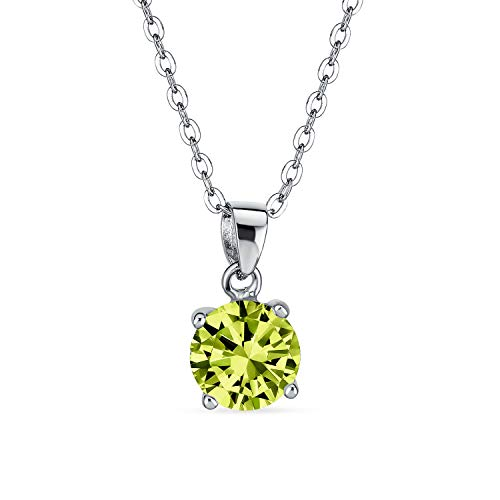 2CT Runde olivgrün AAA CZ brillante Solitär Anhänger Halskette für Frauen Teen Peridot simuliert 925 Sterling Silber