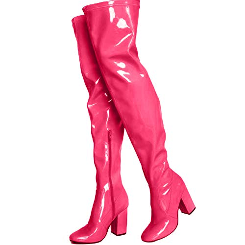 AOSPHIRAYLIAN moda tacón grueso sobre la rodilla botas - sexy punta redonda muslo botas altas para mujer, color Rojo, talla 35.5 EU