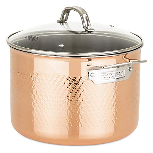 Viking Culinary 40581-9990C 3-Ply Stainless Steel Hammered Copper Clad Cookware Set, 10 Piece