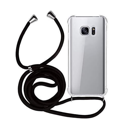 MyGadget Funda Transparente con Cordón para Samsung Galaxy S7 - Carcasa Cuerda y Esquinas Reforzadas en Silicona TPU - Case y Correa - Negro