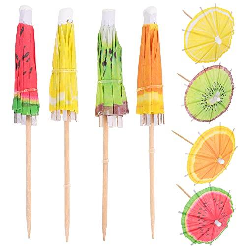 Hemoton 80 Unidades de Paraguas de Cóctel Palillos para Bebidas Parasoles de Cóctel Palillos de Bambú para Cócteles Palillos para Aperitivos Bebidas Frutas Comida para Fiestas