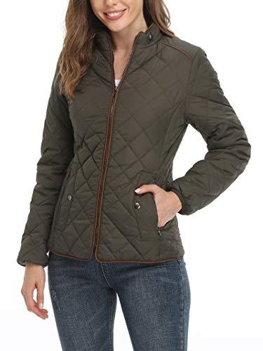 Wudodo Damen Jacke Steppjacke mit Stehkragen Übergangsjacke Gesteppt Jacke, Grün