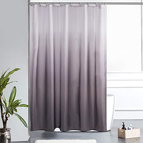 Furlinic Duschvorhang Badvorhang Textil aus Polyester Stoff Schimmelresistent Wasserdicht Waschbar für Dusche Badewanne 150x180 Weiß nach Schwarz mit 10 Duschvorhangringen.