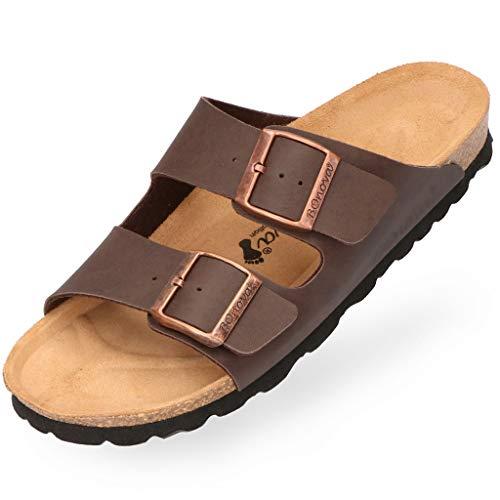 BOnova Herren Pantolette Schwanberg in 4 Farben, Bequeme Hausschuhe mit Kork-Fußbett - Sandalen hergestellt in der EU braun 42