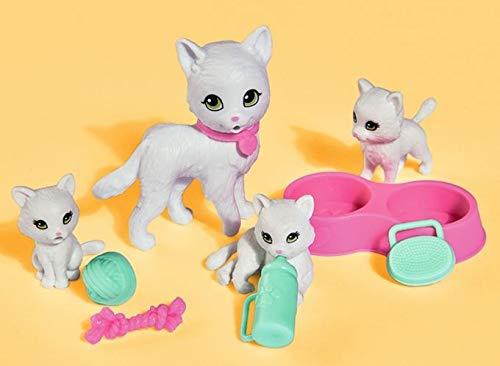 TrendyMaker Katzen, Kätzchen, Tier Spielset, Mama mit 3 Babys, Napf, Fläschchen und Spielzeug, kompatibel mit 32 cm Puppen wie Barbie, Steffi, ....