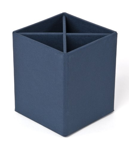 Bigso Penny Fiberboard 4-Divider Desktop Pencil Cup, 3.9 x 3.3 x 3.3 in, Blue