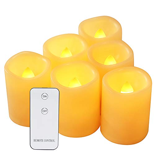 Eldnacele Led Flickering Flameless Votive Tea Lights Candles with Remote Control Battery Operated Set of 6 Electric Outdoor Tealights Candle for Home Christmas,Xmas Decorations 300+Hours