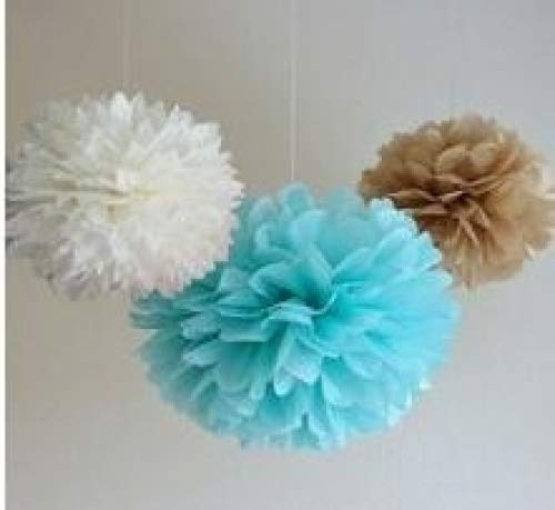 Since ® 12 Mixed White Blue Tan Brown Party Tissue Pompoms Paper Flower Pom Poms Wedding Birthday Nursery Baby Room Decoration Favor SIC-01718