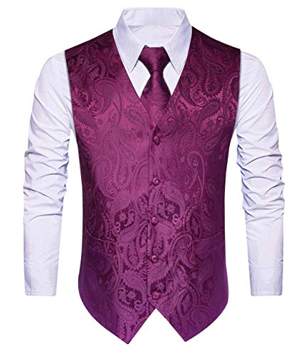 HISDERN Hombre Chaleco de boda floral Chaleco Corbata Panuelo de bolsillo Panuelo Jacquard Chaleco Set Purpura