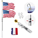 AkTop 25FT Telescoping Flag Poles Kit, Portable 16 Gauge Aluminum In Ground American Flag Pole, Outdoor Heavy Duty Flagpole with 3x5 USA Flag for Commercial or Residential, Silver