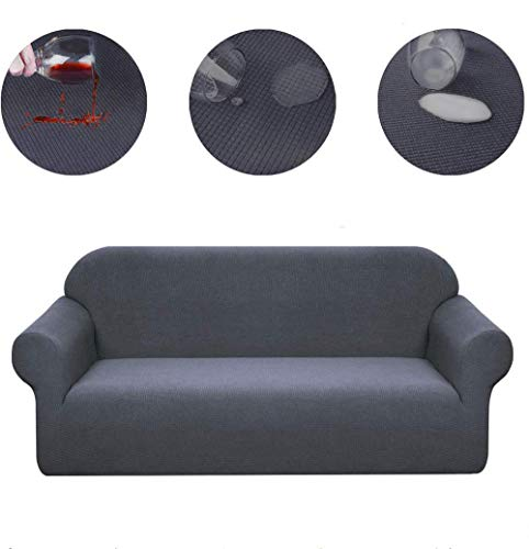 JIAYOUFC Sofa Slipcovers Water Repellent Armchair Covers 1 Piece Stretch Chair Slipcover for Living Room Non Slip Chair Protector Jacquard Sofa Cover (Gray,4 Seater/Sofa)