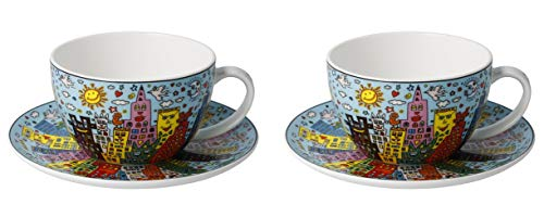 CREAFLOR HOME 2er Set James Rizzi Pop Art Tassen mit Untertasse 250ml blau Goebel