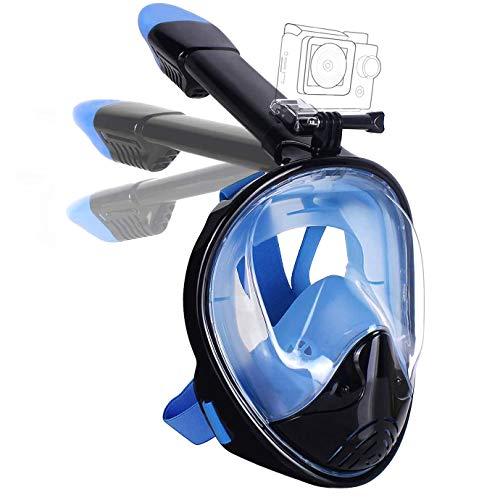 Lypumso Schnorchelmaske Vollmaske, Tauchmaske Vollgesichtsmaske mit 180° Sichtfeld und Kamerahaltung, Anti-Fog Anti-Leck Schnorcheln Sichere Gute Abdichtung für Kinder und Erwachsene (L/XL)