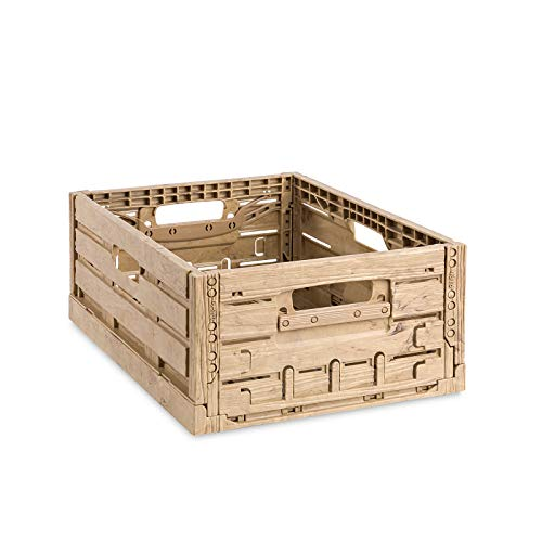 aidB Klappbox, 400x300x165 mm, robuste Transportkiste in edlem Holz-Design, stapelbare Faltkiste