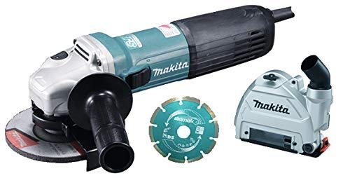 Makita GA5040CJD1 haakse slijper, 125 mm, 1400 W, met beschermkap, 2 diamantschijven in Makpac.