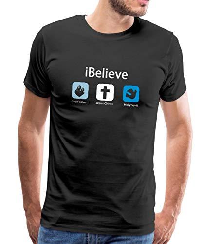 iBelieve God Father Jesus Christ Holy Spirit Spruch Männer Premium T-Shirt, XXL, Schwarz