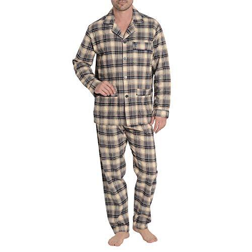 El Búho Nocturno Pijama de Caballero de Manga Larga y Chaqueta a Botones clásico a Cuadros de Franela de algodón Especial para Invierno L Gris Oscuro